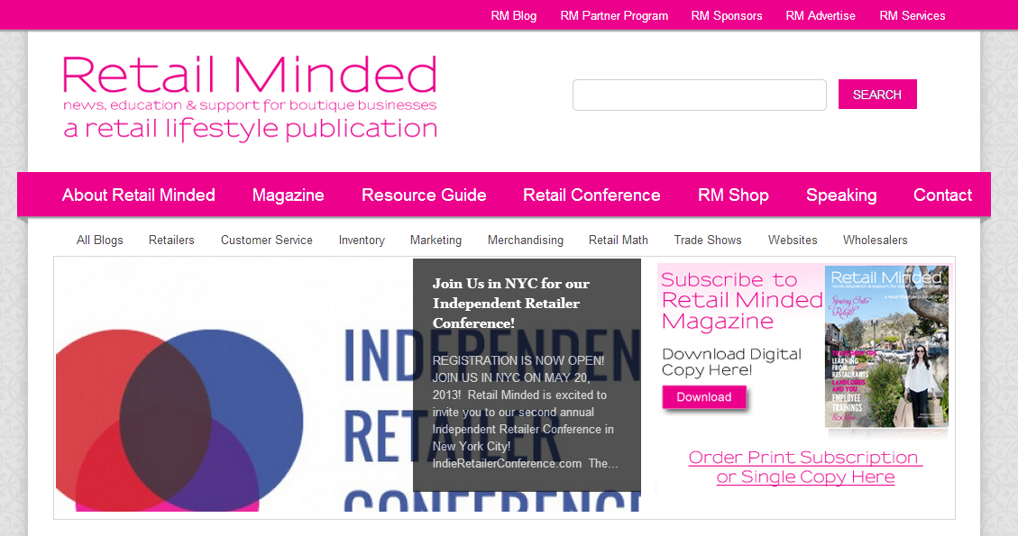 Here is a glimpse of Nicole's Retail Minded Website! Visit retailminded.com.